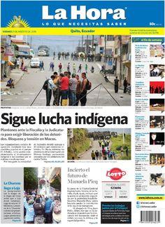 """Acá nuestra portada de hoy 21 de agosto del 2015. Tema destacado: """" Sigue lucha indígena""""."""