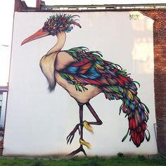 Street art in NQ, Manchester. . . #manchester #streetart #streetart #wallart #streetartist #streetartphotography #streetartuk #graffiti #graffitiphotographer #bird #birdart #colourful #bold #brickwall #wall #northernquarterstreetart #northernquarter #eveningsun #bailon #mural #ancoats #exploremore
