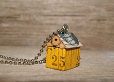 Funky Little House Necklace Charm  Measuring Up by artbyheather