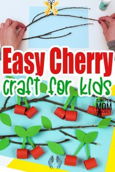 """Easy DiY Cherry Paper Craft for Kids - Simple Mom Project It's so much fun to make cherry blossom crafts with kids. This DIY easy cherry crafts for kids will keep your kids entertained for hours so that you no longer have to hear the words, """"I'm bored"""". Your kids will enjoy using the easy tutorial below to craft up their own hand made cherry tree artwork. Keep scrolling to find the fun and adorable cherry craft tutorial along with several ideas to use this easy diy cherry craft in your…"""