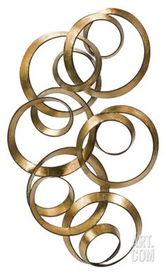 Athena Gold Leaf Circle Metal Wall Art Home Accessories at Art.com