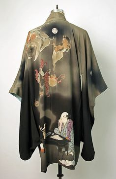 An incredibly detailed hand-painted Japanese Kimono jacket. Silk Kimono, Kimono Dress, Kimono Top, Kimono Jacket, Kimono Fabric, Traditional Japanese Kimono, Traditional Dresses, Japanese Taste, Japanese Outfits