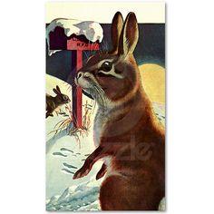 Vintage Christmas Illustration Snow #Rabbit