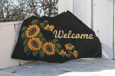 sunflower welcome rock