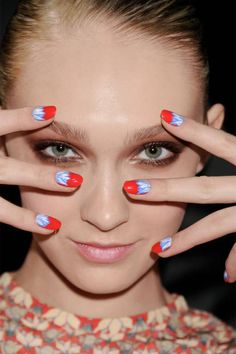 Rachel Antonoff matches floral nails to floral frocks F/W 2012