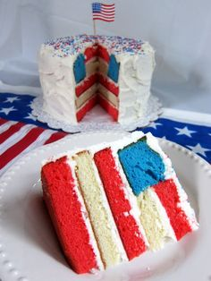 American flag cake for the 4th of July festivities... Lovn this.. Looks super easy too.