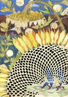 Sunflower by Charles Burchfield  1915.  BURCHFIELD - Go to Buffalo, NY (yes, Buffalo!) to see MANY of his paintings at the museum dedicated to him, the Burchfield-Penney Gallery.