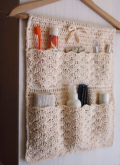 Pattern is written is US crochet terms.The Bathroom Organizer is an exclusive design inside Issue (December of Happily Hooked Magazine.Ravelry: Bathroom Organizer pattern by Ana Da knit and crochet communityPinned onto Untitled Board in CategoryRavel Christmas Knitting Patterns, Crochet Patterns, Crochet Ideas, Crochet Home, Free Crochet, Crochet Bags, Bathroom Organisation, Organization, Crochet Organizer