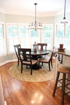 Image by Unskinny Boppy - Wall Color Restoration Hardware Silver Sage Kitchen Rug, Kitchen Paint, Living Room Kitchen, New Kitchen, Kitchen Design, Dining Rooms, Kitchen Tables, Kitchen Ideas, Kitchen Colors