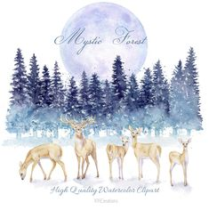 Watercolor Forest Landscape Clipart, Winter Woodland Download, Deer Family Digital Download, Pine Tree, Evergreen Conifer, Christmas Scenery Landscape Clipart, Woodland Illustration, Christmas Scenery, Watercolor Books, Tree Clipart, Deer Family, Watercolor Sunflower, Forest Landscape, Evergreen