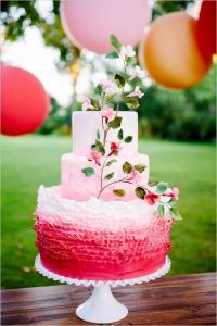pink ombre wedding cake and pink dessert table ideas