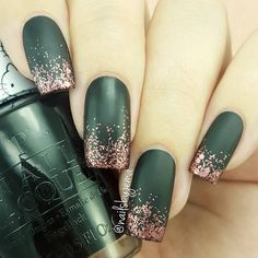 Matte Green Nails with Gold Glitter Tips