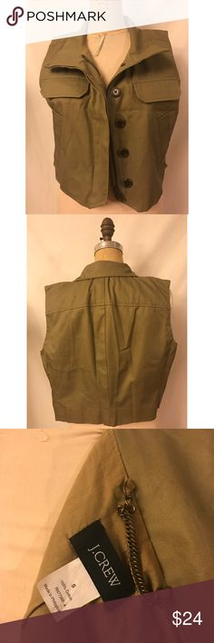 J.crew vest Army green J.crew army inspired vest. Cropped style. Perfect add on to any basic tee. In like NEW CONDITION J. Crew Jackets & Coats Vests