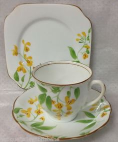 BELL-CHINA-ENGLAND-HANDPAINTED-2752-YELLOW-FLOWERS-TRIO-PLATE-CUP-SAUCER