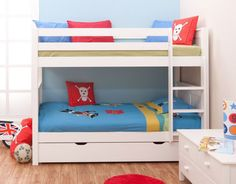 Classic White Bunk Bed for Kids Boys and Girls, by Stompa with Underbed Trundle