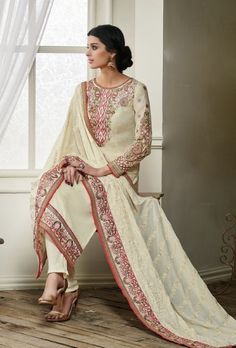 Cream designer indian suit with embroidered dupatta - Desi Royale