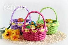 crochet easter patterns | crochet Easter basket - pattern | Crochet - Easter / Spring