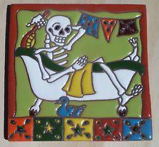 "Talavera Mexican tile 6"" Day of  the Dead Man in Bathtub take a bath towel Ducky"