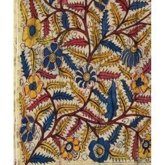 Kalamkari Printed Dupatta (long Indian scarf) in Floral Design | Hydrabad, Andhra Pradesh, India | Kalamkari painting involves resist-dyeing and hand 'block' printing. To make this scarf, between 3-6 'blocks' were used (for the different shapes outlines and fill colors applied)
