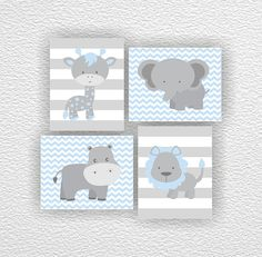 Jungle Animals, Elephant, Giraffe, Hippo, Lion, Chevron, Blue and Gray, Set of 4, 8х10, Playroom wall art, Instant download
