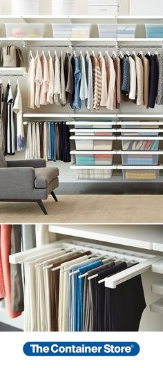 Make your closet heaven on earth with elfa! We love the Gliding Pant Racks - they make it so easy to see all your options at a glance. Gliding Solid Drawers hold sweaters and T-shirts and make it a snap to switch out your wardrobe for the seasons. Just lift out the Solid Drawer when it's time to make a change.