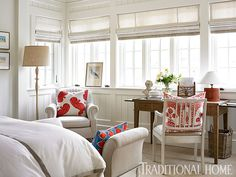 Desk under the window. Breezy Lowcountry Home | Traditional Home