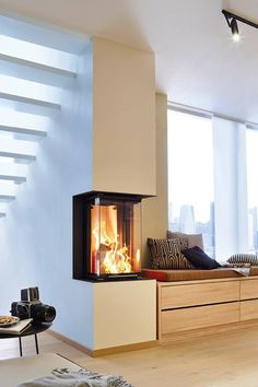 Inbouwhaard Brunner met bank Home Fireplace, Modern Fireplace, Fireplace Design, Condo Living, Home And Living, Living Spaces, Indoor Outdoor Fireplaces, Style At Home, My Dream Home