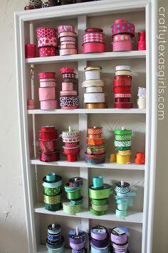 organized craft room, craft rooms, organizing, Ribbon Organization homeorganization