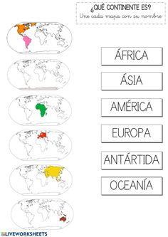 ¿Qué continente es? - Ficha interactiva Social Studies Activities, Preschool Learning Activities, Teaching Kids, Kids Learning, Geography For Kids, Maps For Kids, Kids Geo, Math Formula Chart, Healthy Habits For Kids
