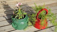 Pots de fleur récup - Une idée récup sympa et colorée qui mettra en valeur vos plantes.