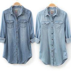 HOT Womens Retro Long Sleeve Blue Jean Denim Shirt Studed