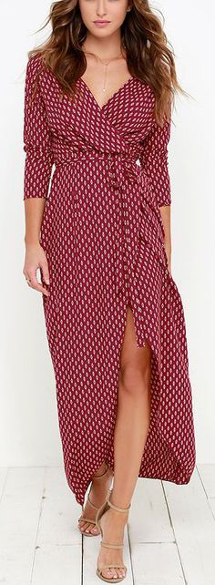 Wine Red Wrap Maxi Dress ==