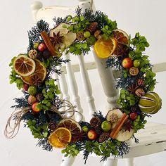【送料無料】 森リース ドライフルーツ アジサイ プリザーブドフラワー 玄関 インテリア ギフト お祝い  【ミンネのクリスマス2015】