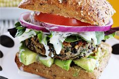 Black Bean Burgers With Cilantro Lime Sauce [Vegan] - One Green PlanetOne Green Planet