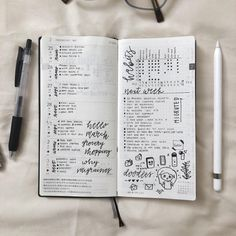 Mid-week I decided to add one/two word lettering & doodles. I love the way it looks! It gives me a summary of my day… Bullet Journal Set Up, Bullet Journal Tracker, Bullet Journal Inspiration, Bullet Journals, Journal Ideas, Planner Supplies, Planner Ideas, Reading Tracker, Hobonichi Techo
