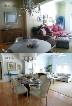 Before & After Dining Room & Living Room | MHM Professional Staging, LLC | Home Staging, Decorating, & Events | #design #decorating