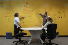 Brainstorming on IdeaPaint dry erase wall.