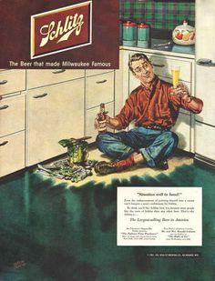 Vintage 1951 Schlitz Beer print ad Man paints himself by Vividiom