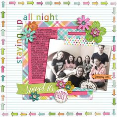 Layout: Sweet Sixteen by Cindy  Template: Recyclables 39 Reason CTM Loves: Love the notebook background paper and doodled border in combination with the selectively colored photo. It has a scrapbook and yearbook feel - kinda nostalgic and still girly and fun.!