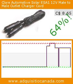 Clore Automotive Solar ESA1 12V Male to Male Outlet Charger Cord (Automotive). Drop 64%! Current price C$ 8.65, the previous price was C$ 24.09. http://www.adquisitiocanada.com/clore-automotive/esa1-12v-male-male-outlet