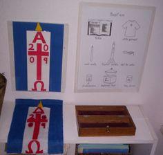 Elverta Atrium: felt Paschal Candle work and Baptism control chart