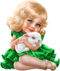 Cute girl with cute rabbit :) Cute Kids, Cute Babies, Girly M, Digital Art Girl, Doll Painting, Baby Art, Eye Art, Anime Art Girl, Cute Dolls
