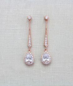 Rose gold earrings Long Bridal earrings Bridal jewelry Crystal drop earrings Delicate Wedding earrings Wedding jewelry CZ teardrop earrings by on Etsy Gold Bridal Earrings, Rose Gold Earrings, Wedding Jewelry, Crystal Earrings, Cluster Earrings, Teardrop Earrings, Custom Jewelry, Gold Jewelry, Turquoise Jewelry
