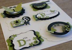 Card Candy - olivgrün, schwarz, weiß - Schüttelelement - Schmetterlingsgarten