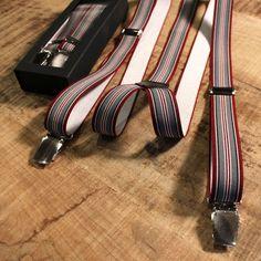 Trico Hollaender Suspenders Burgundy Grey Multistripe : SUNSETSTAR Edwin Jeans, Universal Works, Red Wing Shoes, Japanese Denim, Workout Accessories, Vintage Inspired Dresses, Suspenders, Dress Making, Old School