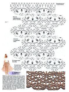 Fabulous Crochet a Little Black Crochet Dress Ideas. Georgeous Crochet a Little Black Crochet Dress Ideas. Crochet Skirt Pattern, Crochet Diagram, Crochet Stitches Patterns, Crochet Chart, Crochet Motif, Knit Crochet, Crochet Summer Dresses, Crochet Skirts, Crochet Clothes