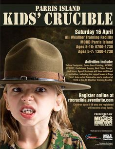 April 16: Parris Island Kids' Crucible at the MCRD All Weather Training Facility presented by MCCS, 7 a.m. Activities include Yellow Footprints, Camo Face Painting, MCMAP, PFT/CFT, Confidence Course, Nerf Pistol Range and more. For details and registration information, call (843)228-2059 or visit www.rtrcrucible.eventbrite.com #SCLowcountry #ParrisIslandMCRD #WeMakeMarines #SemperFi #KidsCrucible