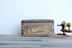 French charming lovely pink metal box by Frenchvintagecharm