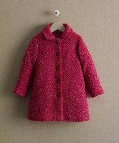 girls boucle coat - A coat this fabulous is a rare find, and she'll look amazing in chic bouclé. It has a vintage feel, as do the leather-wrapped buttons that conceal a full zipper. She'll like the bright pattern, side pockets and concealed hood. You'll see a gorgeous print lining that features a princess and her sleeping cat. By Room Seven®.