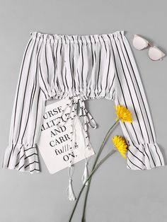 Shop Bardot Drawstring Split Striped Crop Blouse at ROMWE, discover more fashion styles online. Girls Fashion Clothes, Teen Fashion Outfits, Girly Outfits, Outfits For Teens, Cute Summer Outfits, Cute Casual Outfits, Crop Tops For Kids, Stylish Dresses For Girls, Crop Top Outfits